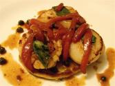 Scallops And Red Peppers Over Potato Pancakes